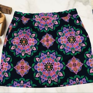 J Crew Mandala Print Basketweave Mini Skirt 10